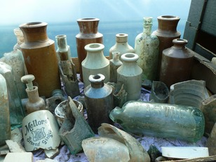 Bottles found in a pit in the south of the garden